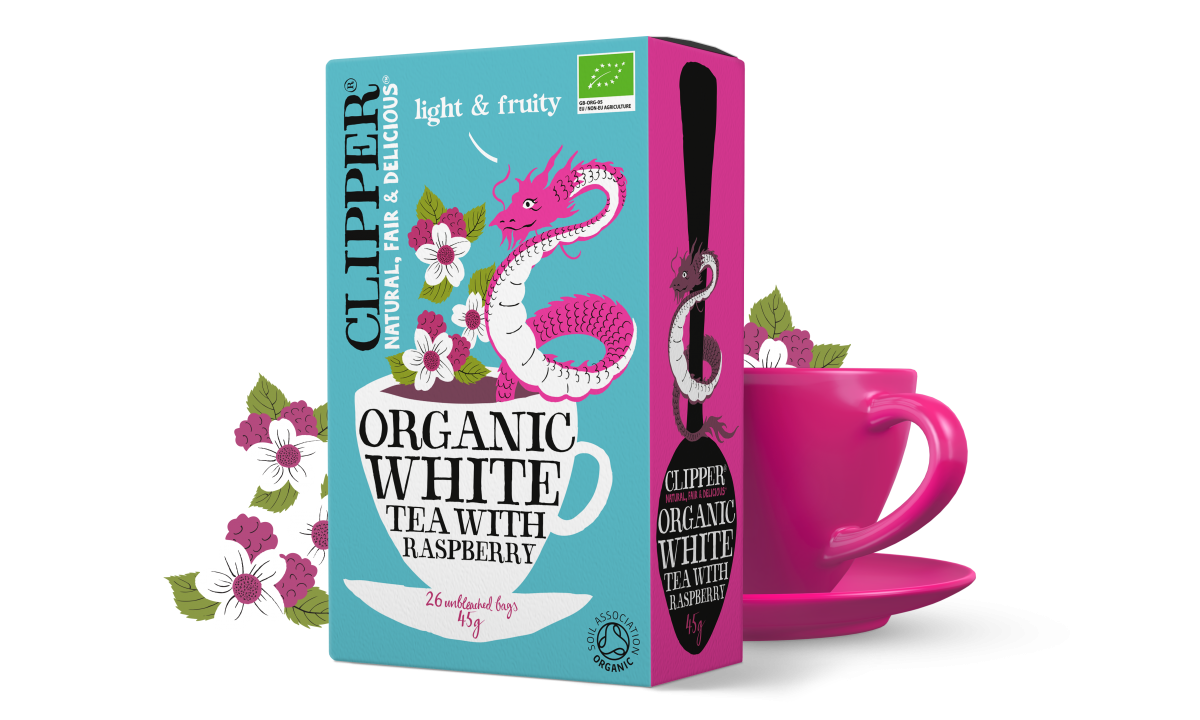 Organic white tea with raspberry
