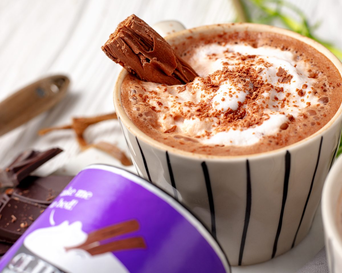Clipper hot chocolate with Flake