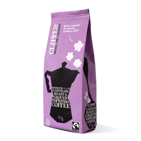 Fairtrade roast ground espresso coffee