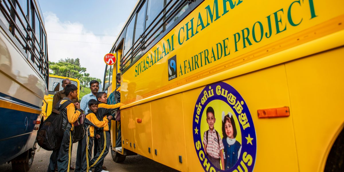 School bus paid for by Fairtrade Premium